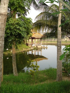 Lagoon at Five Lords Memorial Temple in Meilan District